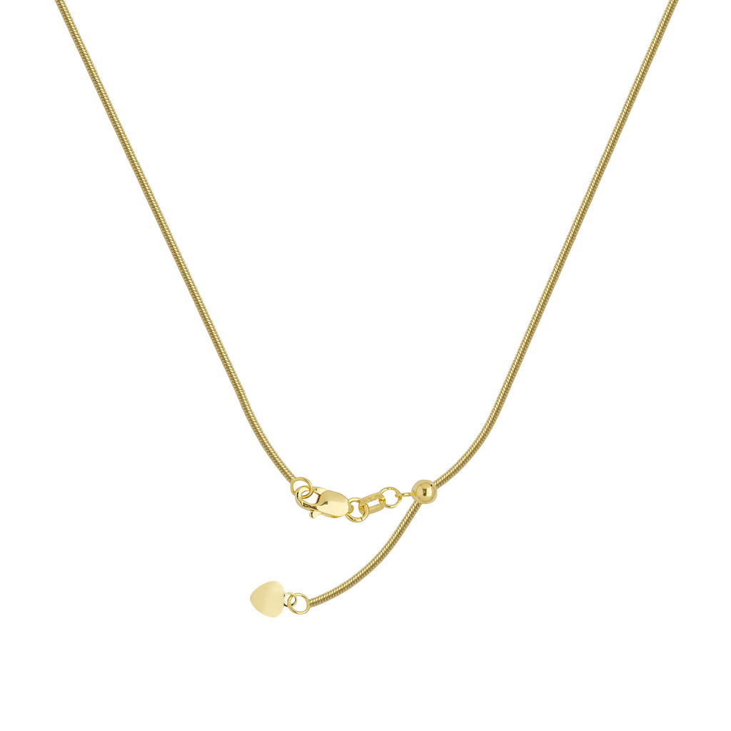 14k Yellow Gold 035 Adjustable Snake Chain with Slider Adjust Up to 22 inches