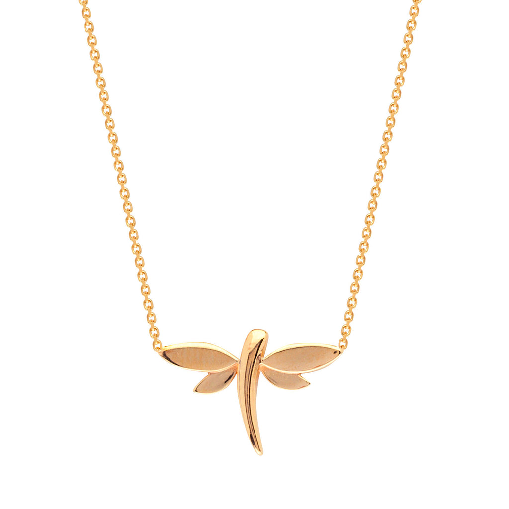 14k Yellow Gold Dragonfly Necklace Adjustable Length