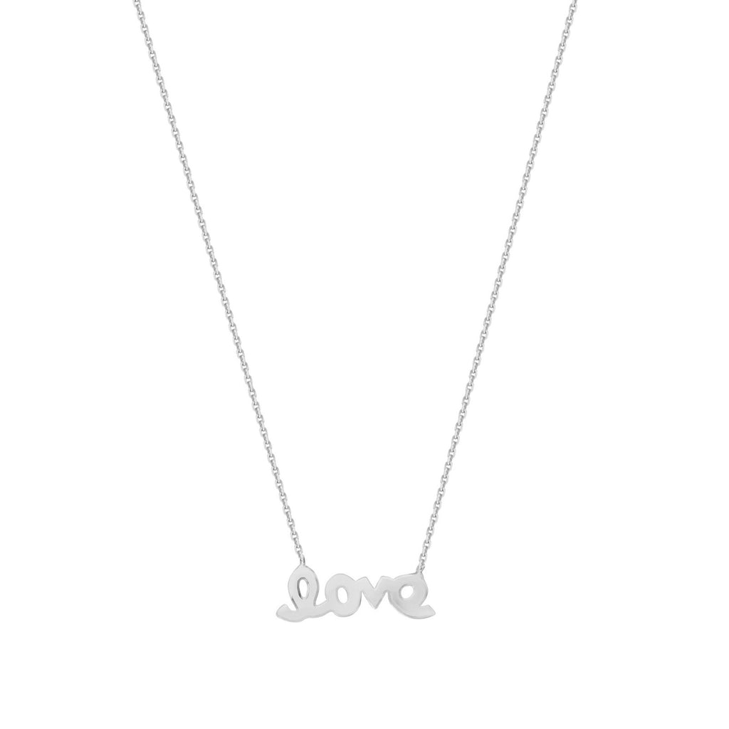 14k White Gold Mini Word Love Necklace East2West Adjustable Length
