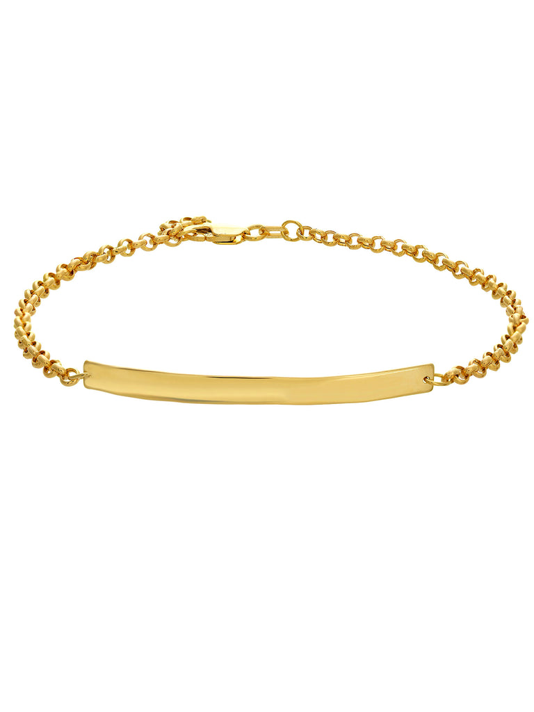 14k Yellow Gold Thin Identification Bracelet with Rolo Chain 7.5 inch Length