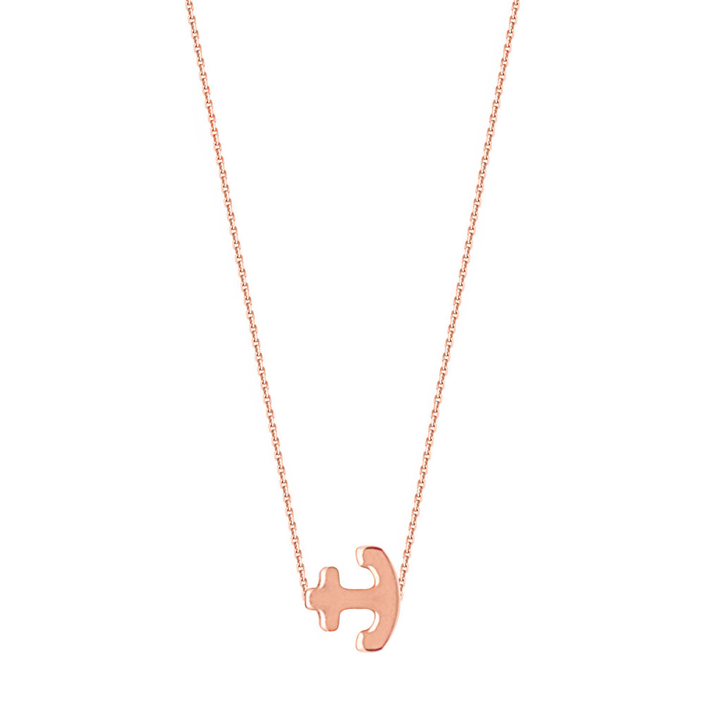 14k Rose Gold Sideways Mini Anchor Necklace East2West