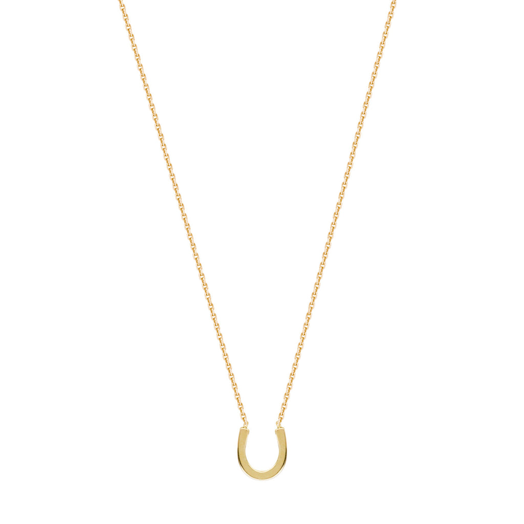 14k Yellow Gold Mini Horseshoe Necklace Adjustable Length East2West Collection