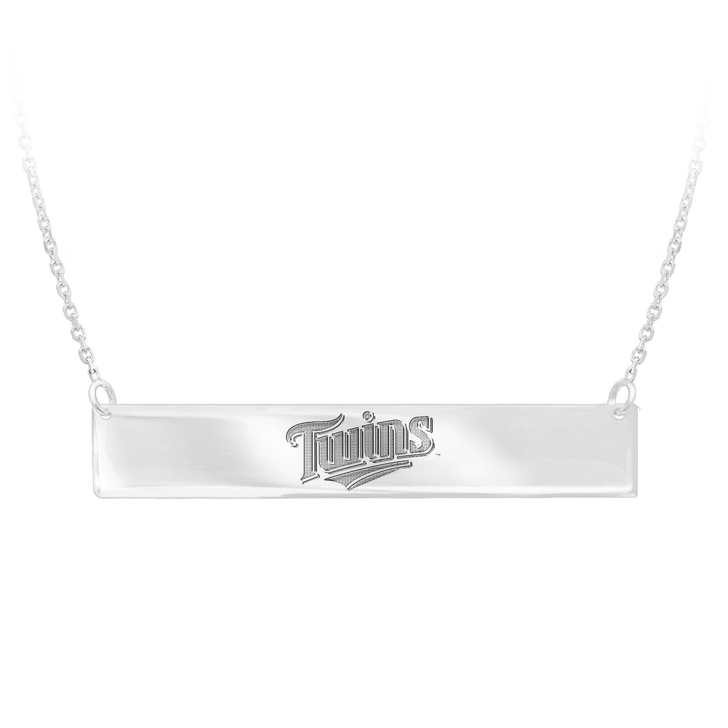 Minnesota Twins Bar Necklace Officially Licensed MLB Team Rhodium on Silver