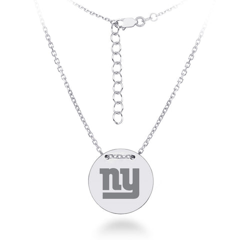 New York Giants Necklace Licensed NFL Team Circle Pendant Sterling Silver
