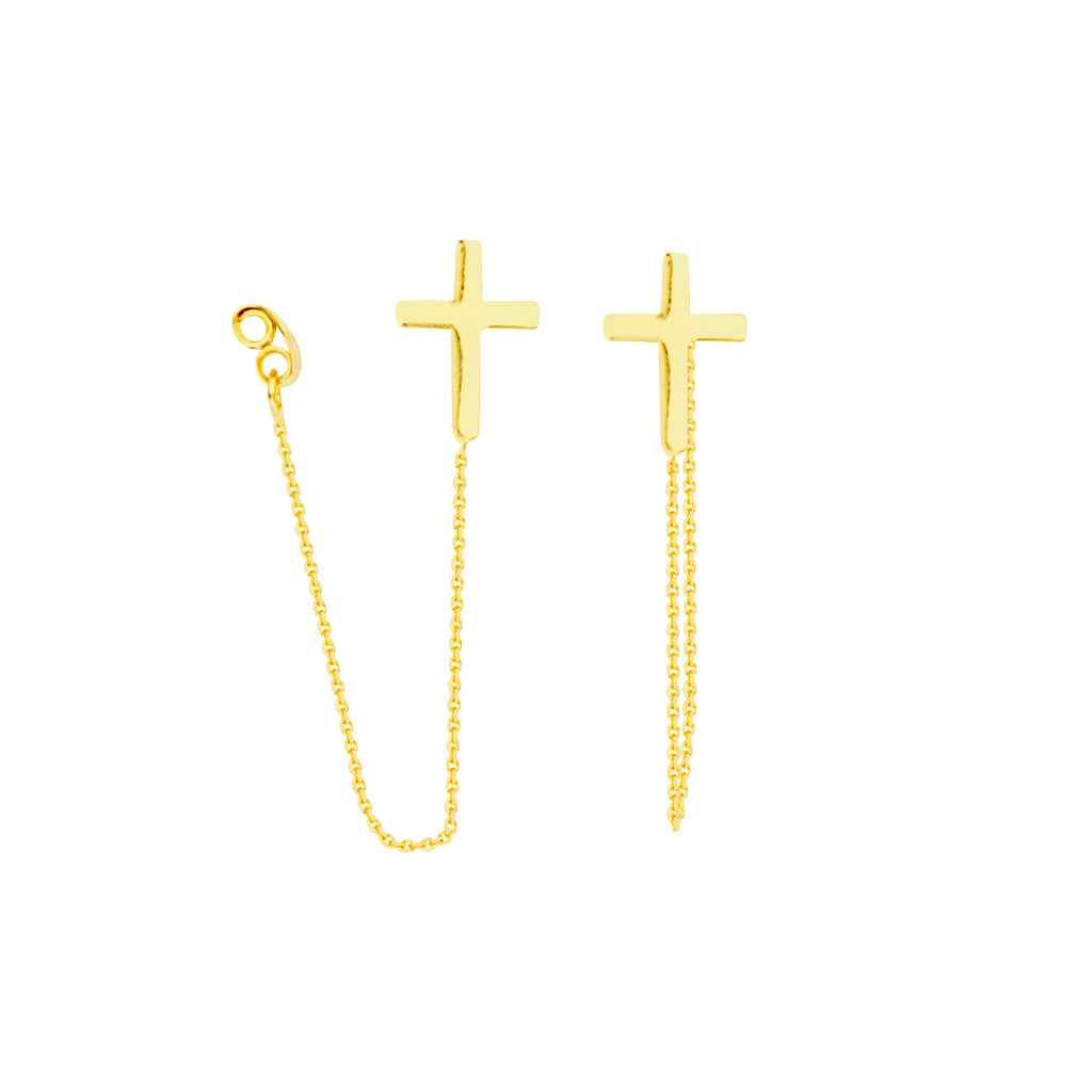 Front Back Chain Cross Earrings 14k Yellow Gold