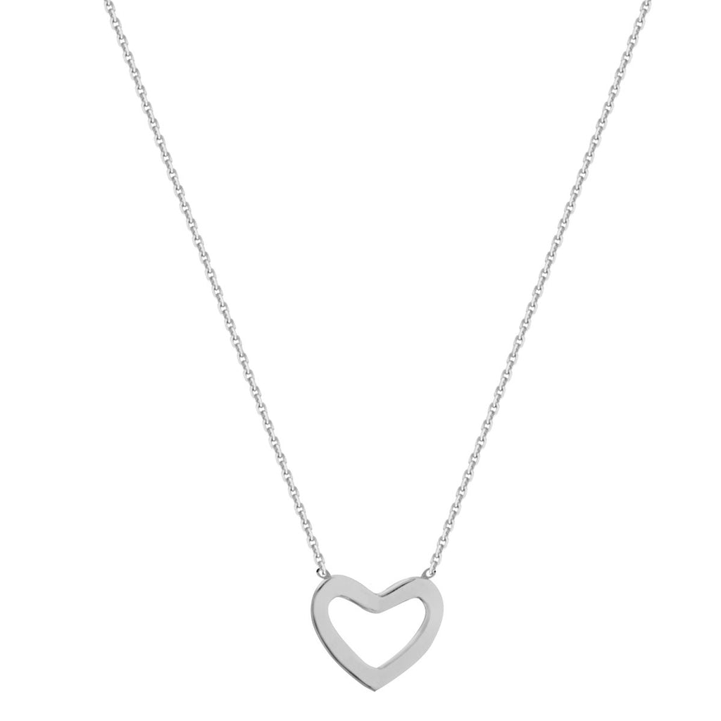 14k White Gold Mini Open Heart Necklace East 2 West