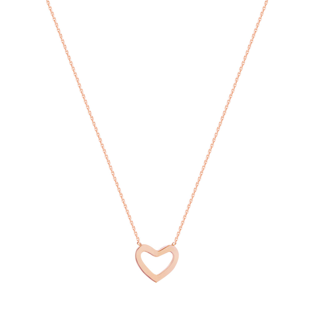 14k Rose Gold Mini Open Heart Necklace East 2 West