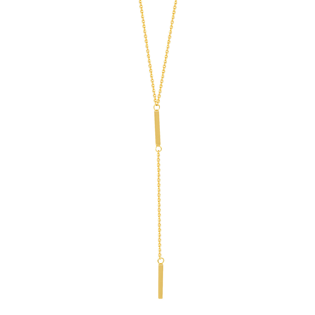 14k Yellow Gold Lariat Necklace with Two Bar Drops Y-style Adjustable Length