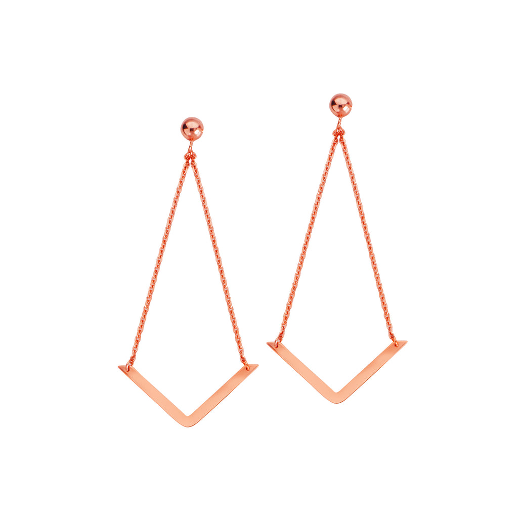 Draw the Line 14k Rose Gold Chevron Dangle Earrings Geometric