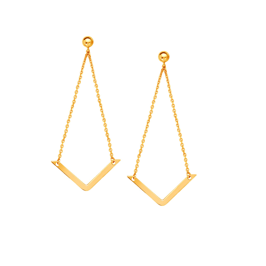 Draw the Line 14k Yellow Gold Chevron Dangle Earrings Geometric
