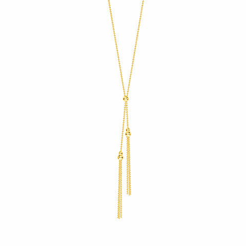 Double Tassel Necklace Beaded 14k Yellow Gold
