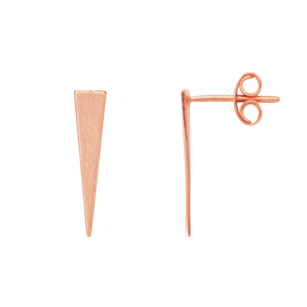 14k Rose Gold Triangle Jagger Pyramid Post Stud Earrings Geometric