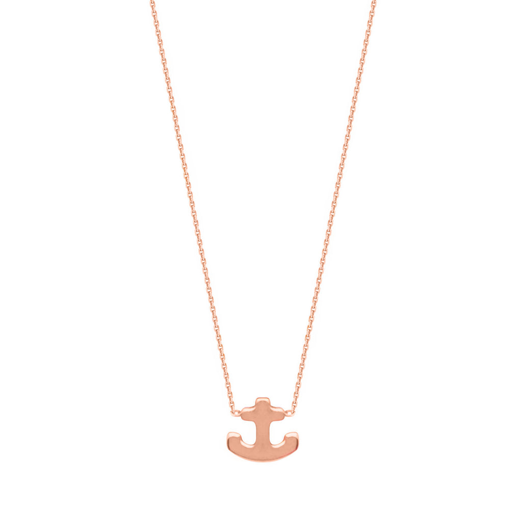 14k Rose Gold Mini Anchor Necklace East2West