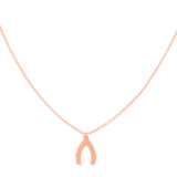 East2West 14k Rose Gold Mini Wishbone Necklace Adjustable Length