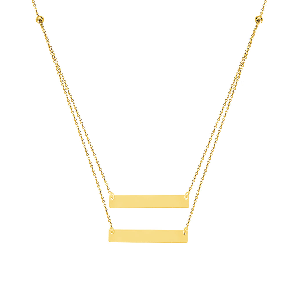 14k Yellow Gold Double Bar Name Plate Necklace - Layered Duos