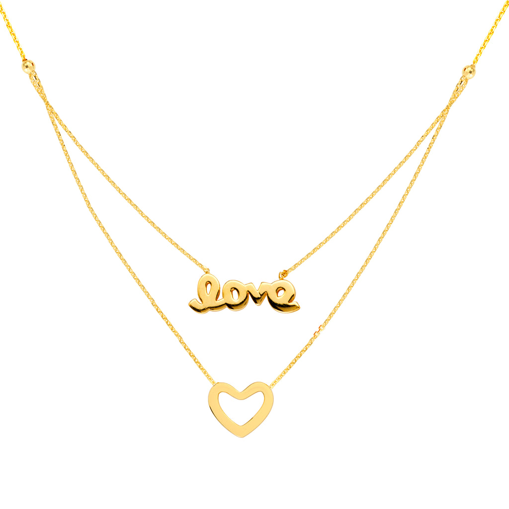 14k Yellow Gold Word Love and Open Heart Necklace - Layered Duos
