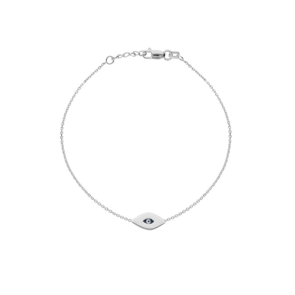 14k White Gold Mini Evil Eye Bracelet Adjustable Length East2West Collection