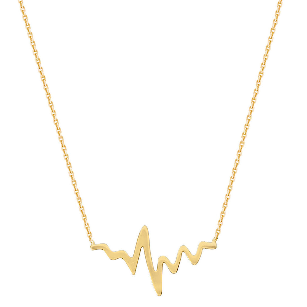 14k Yellow Gold East2West HeartBeat Necklace Polished Adjustable Length
