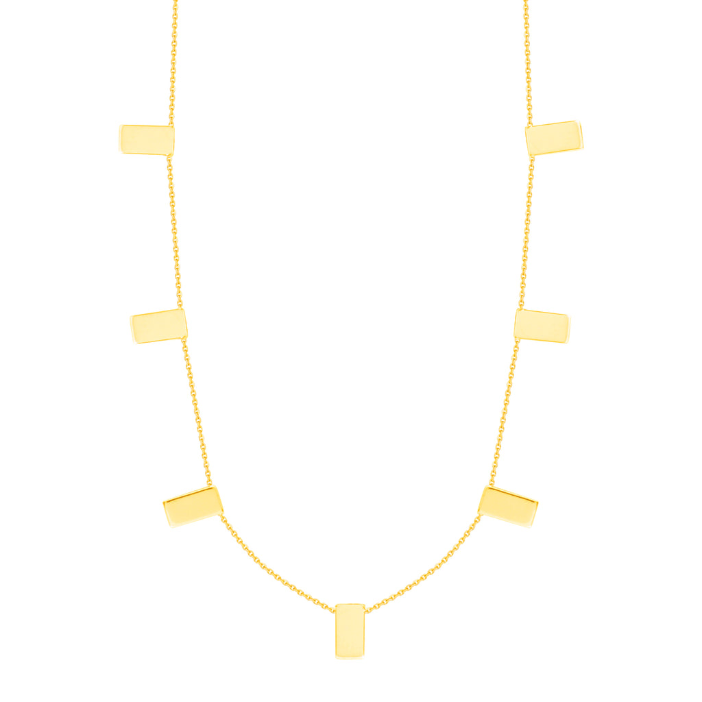 Rectangle Staple Bar Station Necklace 14k Yellow Gold Adjustable Length