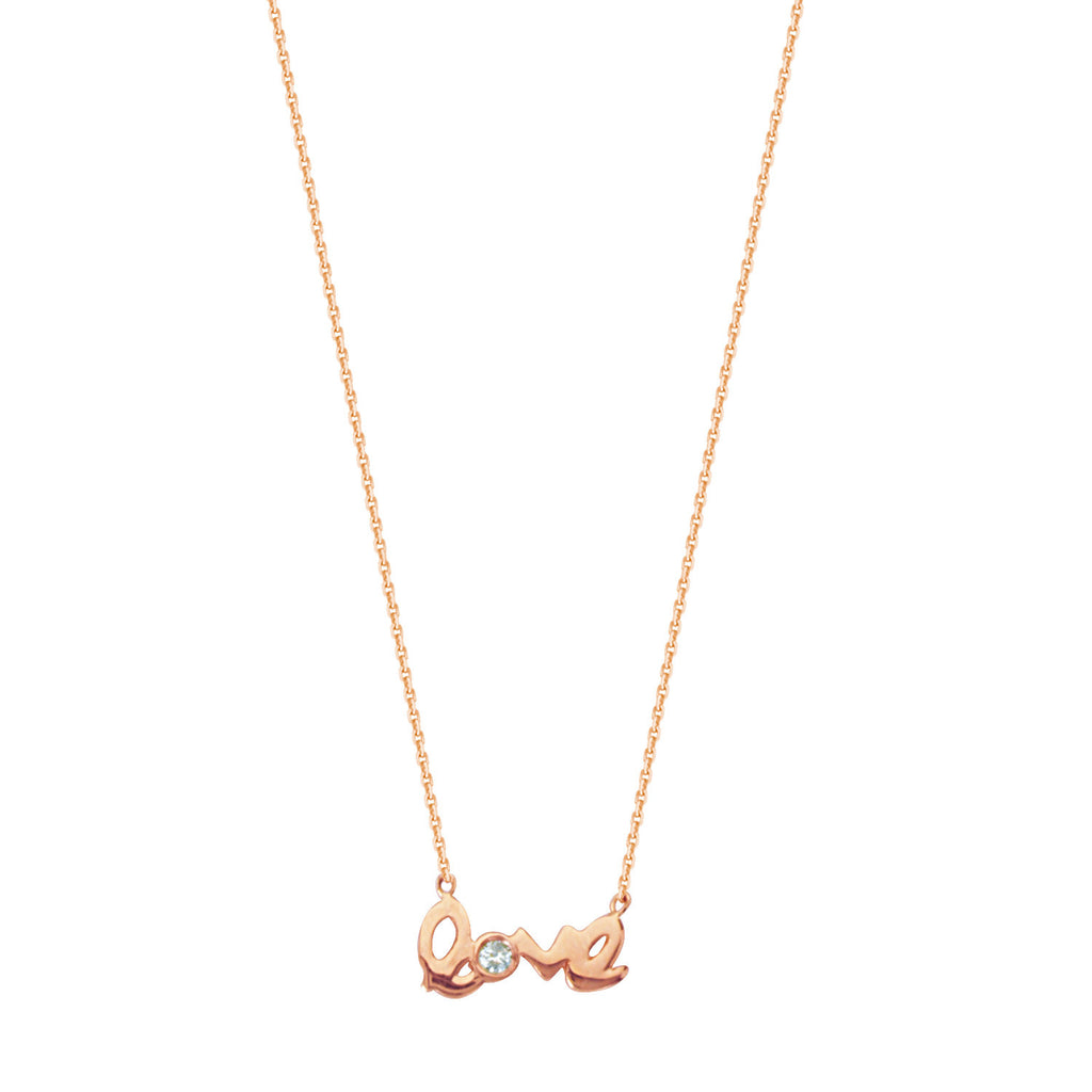 14k Rose Gold Mini Love Necklace with Genuine Diamond Accent East 2 West