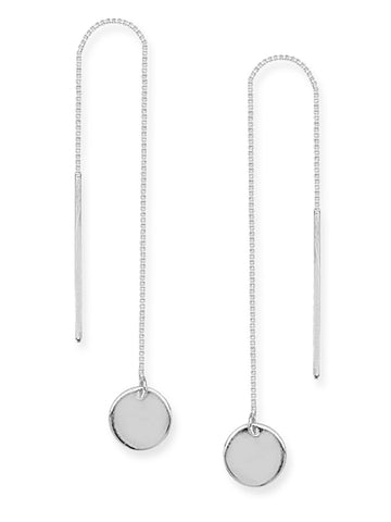 Threader Earrings 14K White Gold Polished Flat Disk and Bar with Box Chain