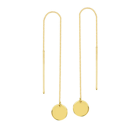 Threader Earrings 14K Yellow Gold Polished Flat Disk and Bar with Box Chain
