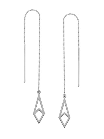 Threader Earrings 14K White Gold Polished Open Kite Shape and Bar with Box Chain