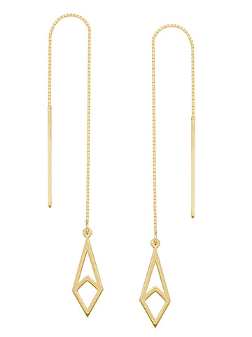 Threader Earrings 14K Yellow Gold Polished Open Kite Shape and Bar with Box Chain