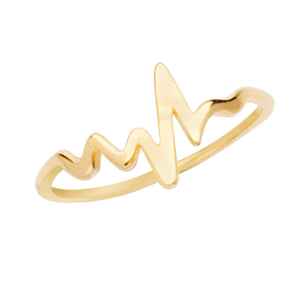14k Yellow Gold Heartbeat Ring Polished Finish