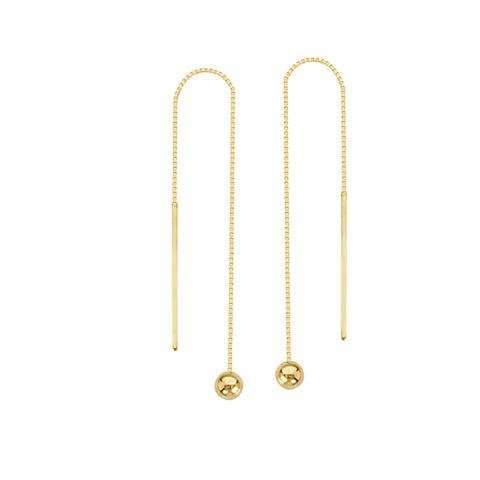 Threader Earrings 14K Yellow Gold Polished Bead Ball and Bar with Box Chain