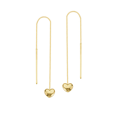 Threader Earrings 14K Yellow Gold Polished Puffed Heart and Bar with Box Chain