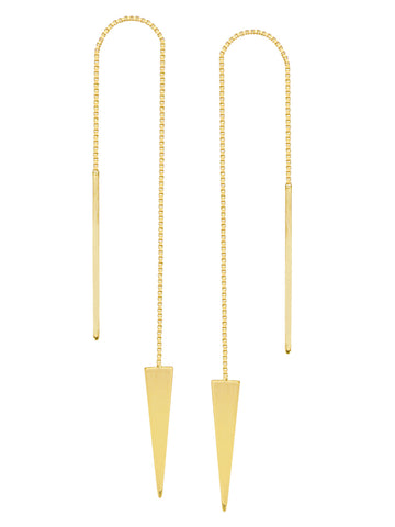 Threader Earrings 14K Yellow Gold Polished Solid Triangle and Bar with Box Chain