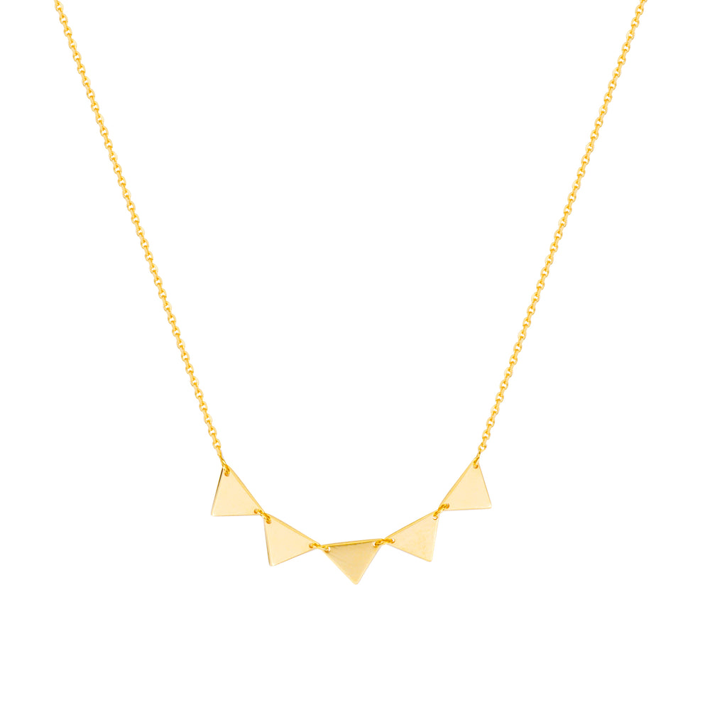 14k Yellow Gold 5 Triangle Necklace Adjustable Length