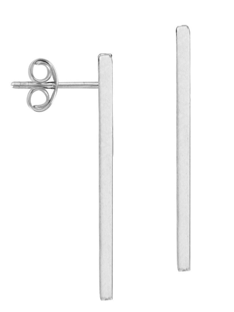 14k White Gold Stick Bar Post Stud Earrings