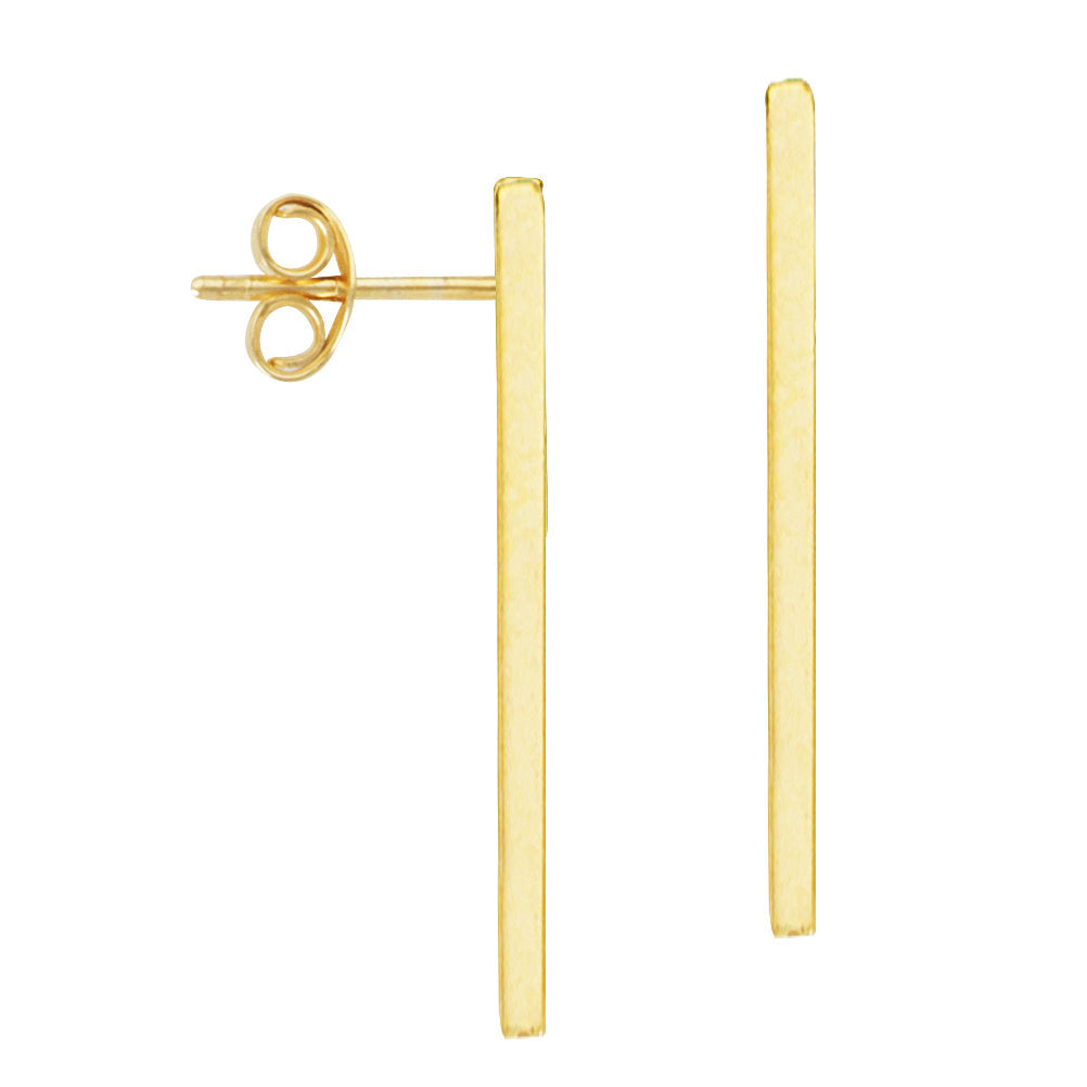 14k Yellow Gold Stick Bar Post Stud Earrings
