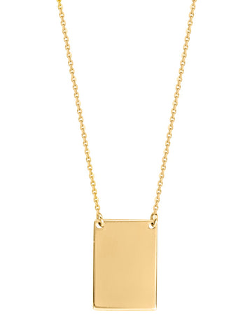 14k Yellow Gold Engraveable Rectangle Tag Necklace East2West Tailored Collection