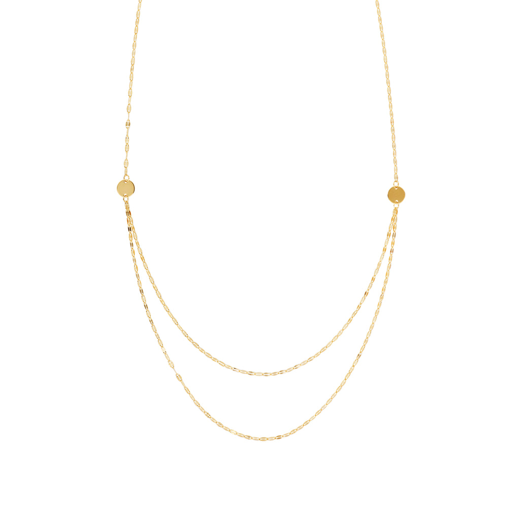 Hawley Street 14k Yellow Gold Layered Disk Bib Necklace Hammered Mariner Chain