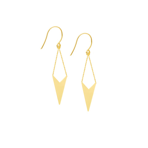 Draw the Line Brooklyn V-shape Earrings 14k Yellow Gold