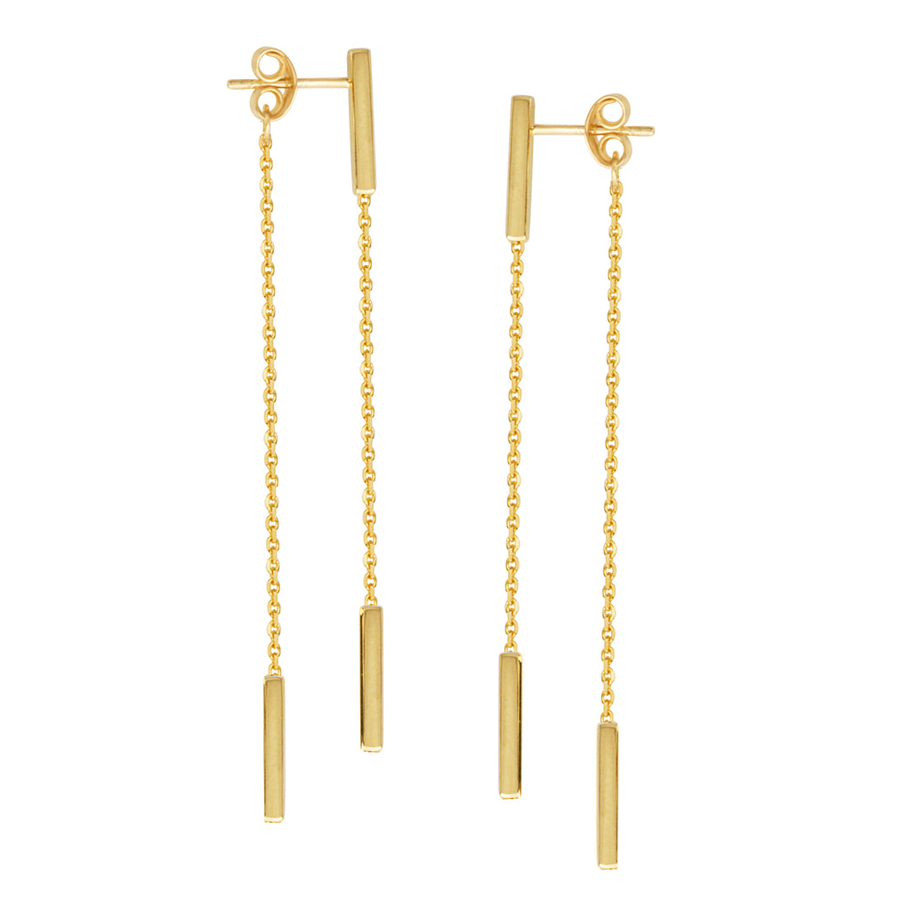 Front Back Chain Staple Bar Drop Earrings 14k Yellow Gold