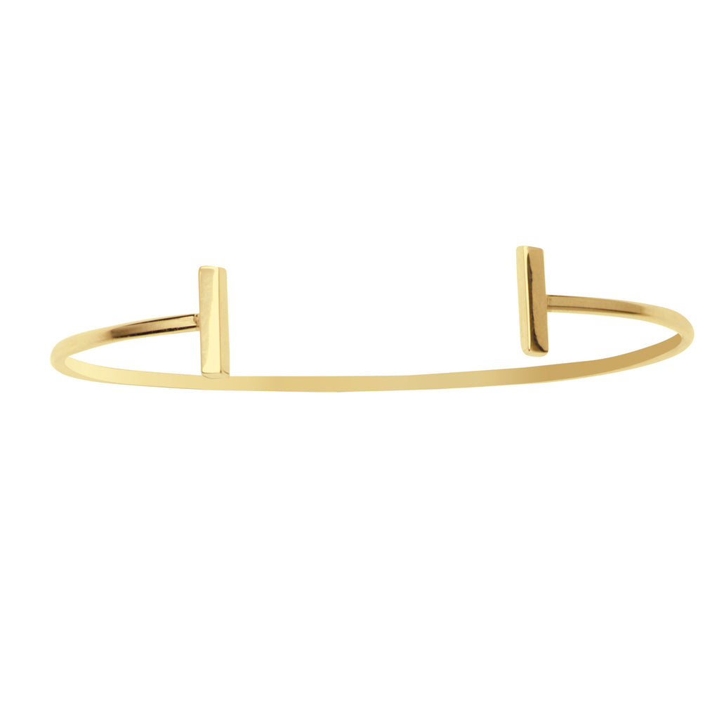 14k Yellow Gold Cuff Bracelet Plain Polished With Staple Bar Ends