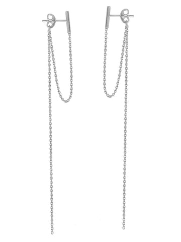 Staple Bar Drop Earrings 14k White Gold Connected and Long Drop Chains