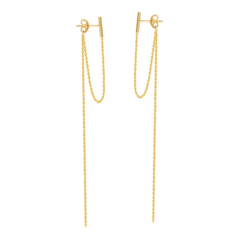 Staple Bar Drop Earrings 14k Yellow Gold Connected and Long Drop Chains