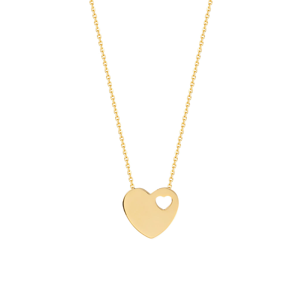 14k Yellow Gold Heart and Cut Out Heart Necklace Adjustable Length
