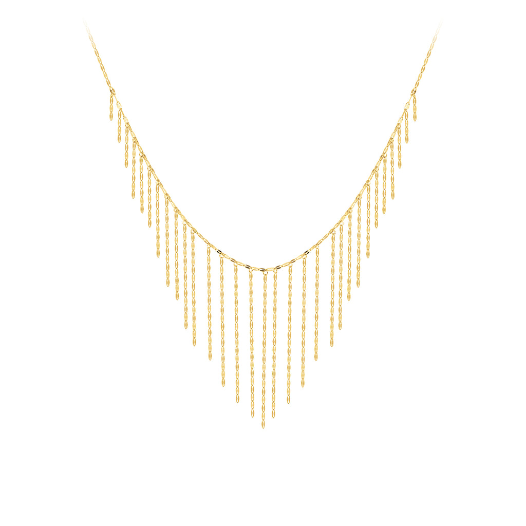 14k Yellow Gold Hammered Forzentina Chain Drop Necklace