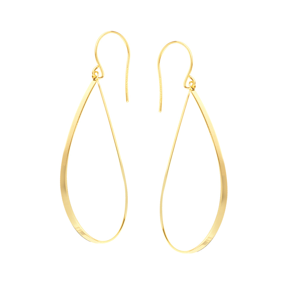 14k Yellow Gold Flat Teardrop Dangle Drop Earrings - Hawley Street