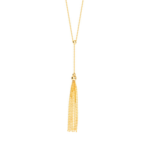 14k Yellow Gold Movable Bead Lariat Necklace with Tassel Drop Adjustable Length
