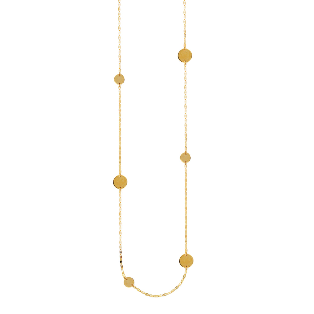 14k Yellow Gold 36-inch  Necklace Hammered Forzentina and Circle Disk Stations