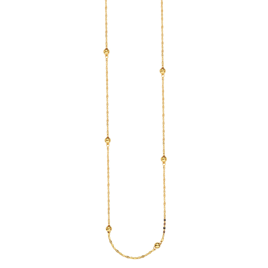 14k Yellow Gold 36-inch Necklace Hammered Forzentina and Round Bead Stations