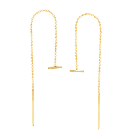 Threader Earrings 14K Yellow Gold Polished Double Staple Bar with Box Chain