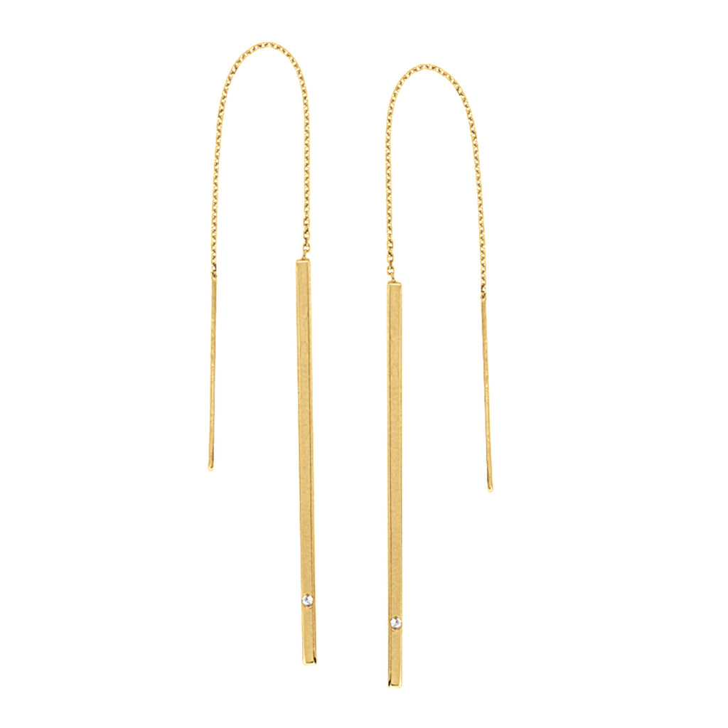 Matchstick Threader Earrings 14k Yellow Gold with Diamond Accent